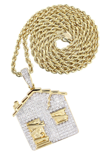 14K Yellow Gold Trap House Diamond Pendant & Rope Chain | 2.62 Carats