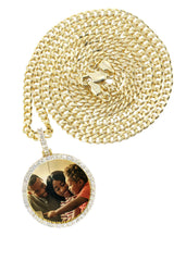 Full Diamond 10K Yellow Gold Small Round Picture Pendant & Cuban Chain | 1.45 Carats | Appx. 16 Grams