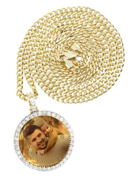 Full Diamond 10K Yellow Gold Medium Round Picture Pendant & Cuban Chain | 1.88 Carats | Appx. 19 Grams