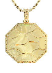 Full Diamond 10K Yellow Gold Large Octagon Picture Pendant & Rope Chain | 2.69 Carats | Appx. 20 Grams