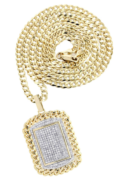 10K Yellow Gold Dog Tag Pendant & Cuban Chain | 6.05 Carats