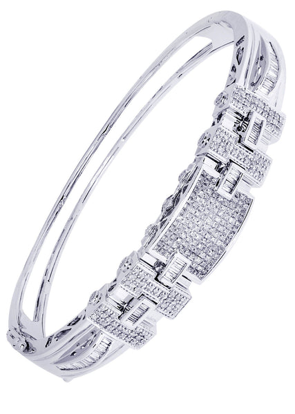 Mens Diamond Bracelet White Gold| 1 Carats| 31.91 Grams