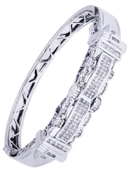 Mens Diamond Bracelet White Gold| 2.18 Carats| 35.43 Grams
