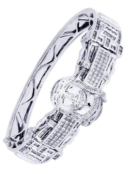 Mens Diamond Bracelet White Gold| 4.06 Carats| 52.03 Grams