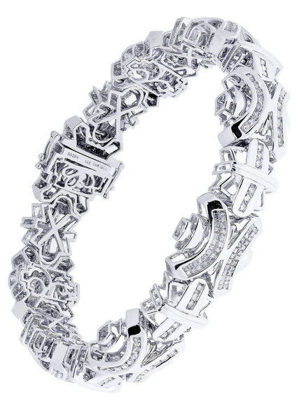 Mens Diamond Bracelet White Gold| 4.63 Carats| 52.72 Grams