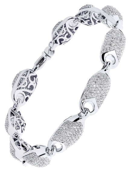 Mens Diamond Bracelet White Gold| 5.57 Carats| 26.45 Grams