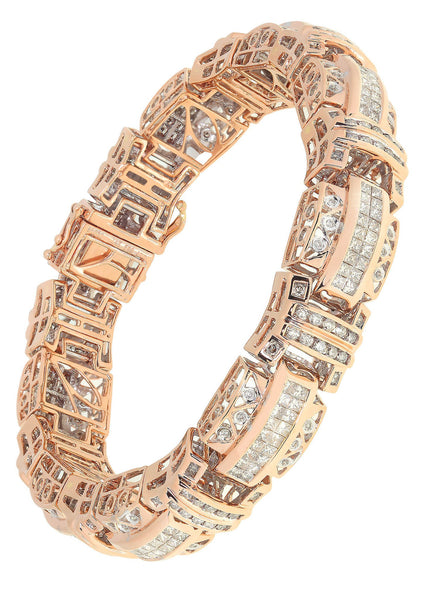 Mens Diamond Bracelet Rose Gold| 2.78 Carats| 60.49 Grams