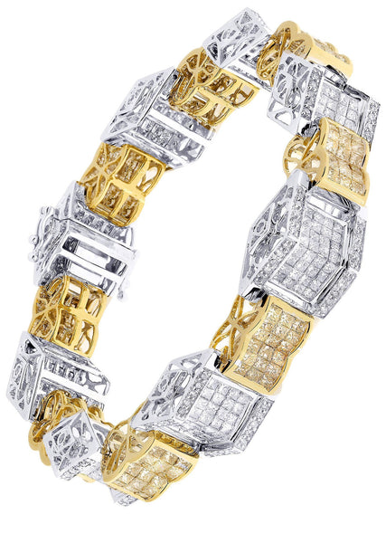 Mens Diamond Bracelet Yellow Gold| 13.65 Carats| 44.48 Grams