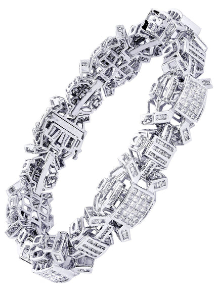Mens Diamond Bracelet White Gold | 6.34 Carats| 59.76 Grams