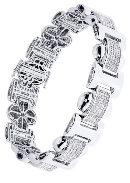 Mens Diamond Bracelet White Gold| 6.34 Carats| 45.89 Grams