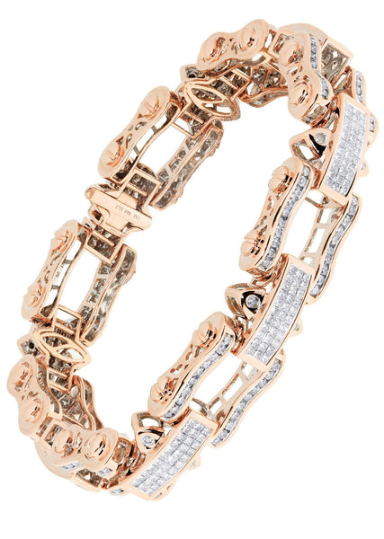 Mens Diamond Bracelet Rose Gold| 8.54 Carats| 65.73 Grams