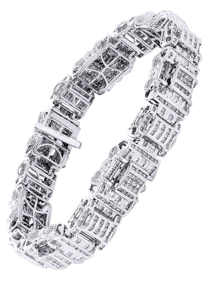 Mens Diamond Bracelet White Gold| 6.61 Carats| 60.18 Grams