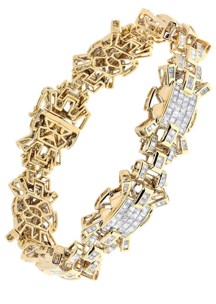 Mens Diamond Bracelet Yellow Gold| 8.13 Carats| 47.62 Grams