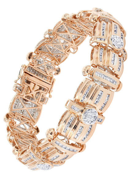 Mens Diamond Bracelet Rose Gold| 3.96 Carats| 60.77 Grams