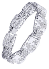 Mens Diamond Bracelet White Gold| 6.83 Carats| 46.75 Grams