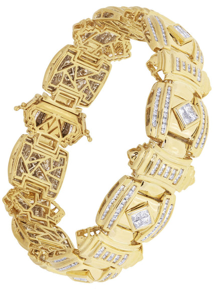 Mens Diamond Bracelet Yellow Gold| 3.31 Carats| 74.91 Grams