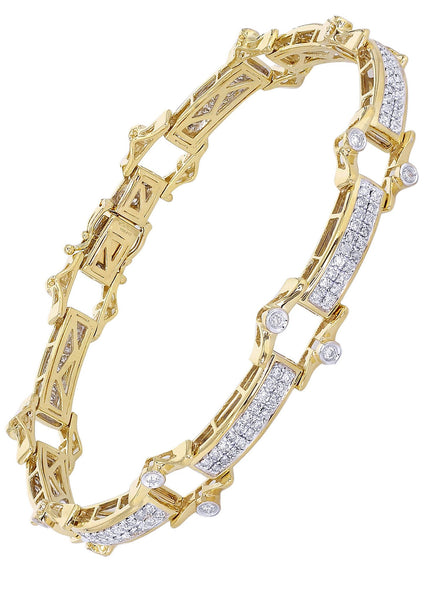 Mens Diamond Bracelet Yellow Gold| 2.29 Carats| 22.1 Grams