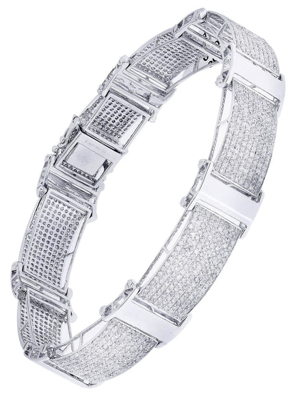 Mens Diamond Bracelet White Gold| 7.52 Carats| 27.3 Grams