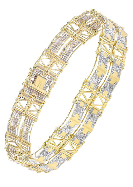 Mens Diamond Bracelet Yellow Gold| 2.73 Carats| 28.4 Grams