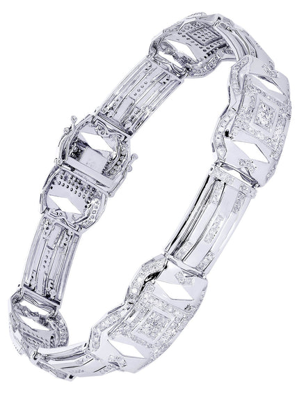 Mens Diamond Bracelet White Gold| 3.19 Carats| 26.05 Grams