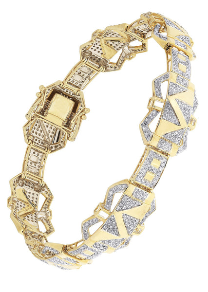 Mens Diamond Bracelet Yellow Gold| 3.72 Carats| 25.42 Grams