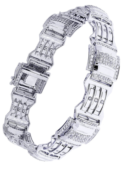 Mens Diamond Bracelet White Gold| 3.04 Carats| 27.99 Grams