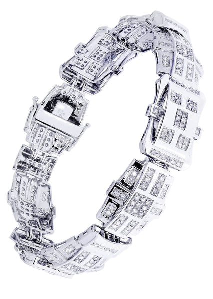 Mens Diamond Bracelet White Gold| 3.64 Carats| 31.39 Grams