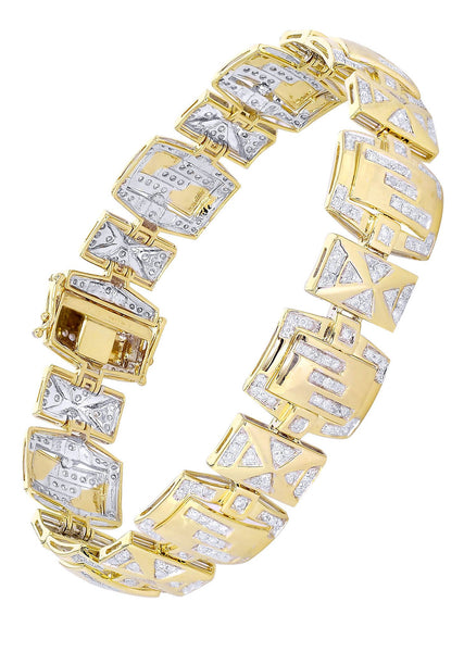 Mens Diamond Bracelet Yellow Gold| 3.16 Carats| 33.64 Grams