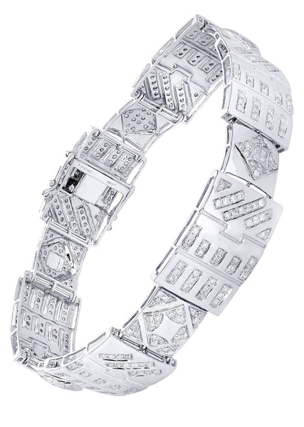 Mens Diamond Bracelet White Gold| 4.28 Carats| 32.37 Grams