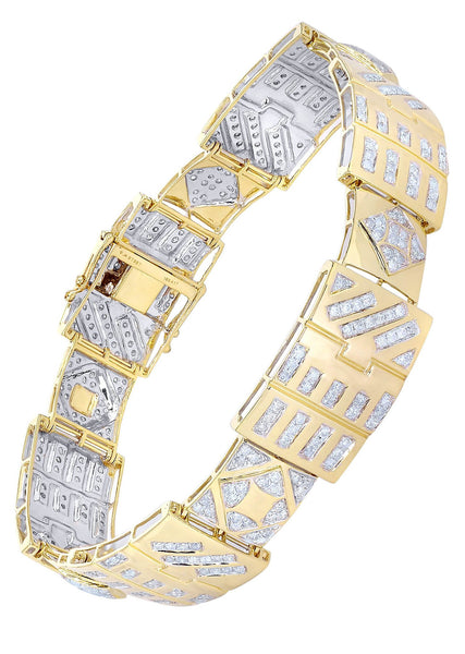 Mens Diamond Bracelet Yellow Gold| 4.2 Carats| 31.93 Grams