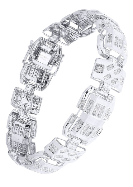 Mens Diamond Bracelet White Gold| 3.49 Carats| 33.95 Grams