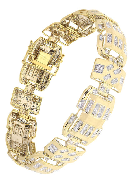Mens Diamond Bracelet Yellow Gold| 3.48 Carats| 33.67 Grams