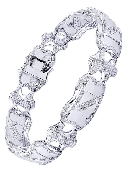 Mens Diamond Bracelet White Gold| 4.11 Carats| 29.53 Grams
