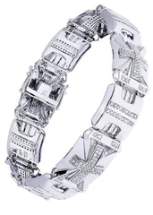 Mens Diamond Bracelet White Gold| 2.77 Carats| 34.7 Grams