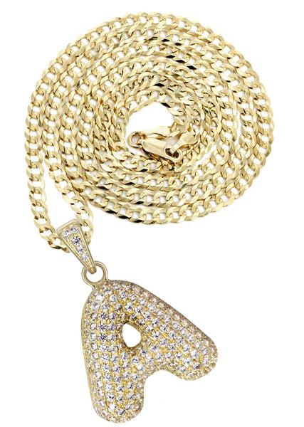 "10K Yellow Gold Cuban Chain & Bubble Letter ""A"" Cz Pendant 
