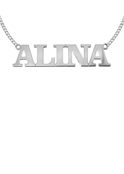 14K Ladies White Gold Name Plate Necklace | Appx. 6.8 Grams