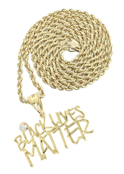 10K Yellow Gold Rope Chain & Cz Black Lives Matter Pendant | Appx 13.6 Grams