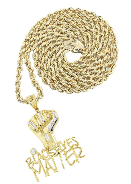 10K Yellow Gold Rope Chain & Cz Black Lives Matter Pendant | Appx 17 Grams