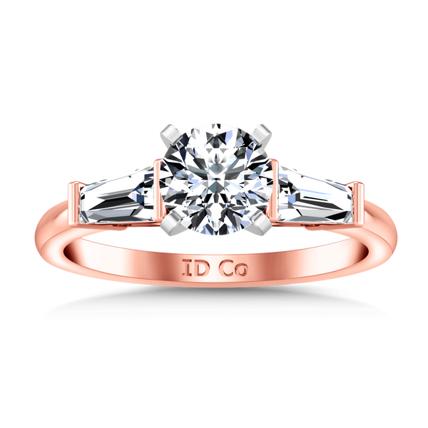 Three Stone Diamond EngagementRing Prong Channel Set Tappered Baguette 14K Rose Gold