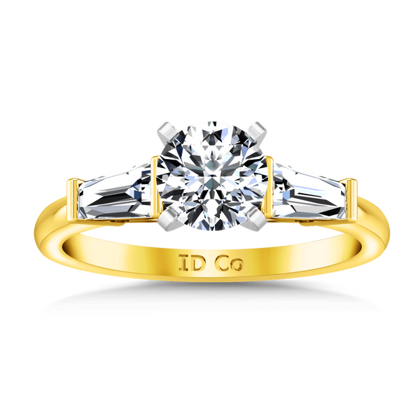 Three Stone Diamond Engagement Ring Prong Channel Set Tappered Baguette 14K Yellow Gold