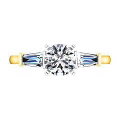 Three Stone Diamond Engagement Ring Prong Channel Set Tappered Baguette 14K Yellow Gold engagement rings imaginediamonds