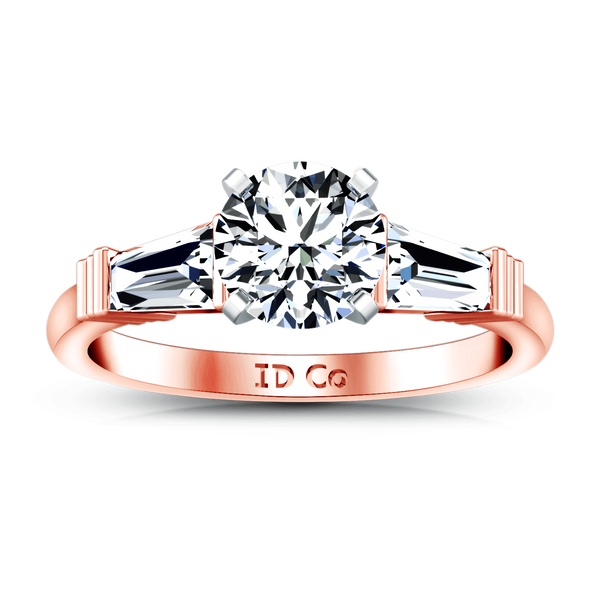 Three Stone Diamond EngagementRing Structural Tapered Baguette 14K Rose Gold