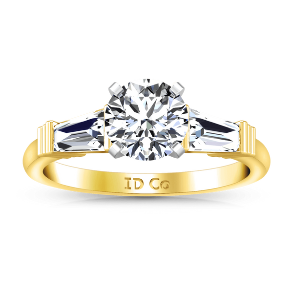 Three Stone Diamond Engagement Ring Structural Tapered Baguette 14K Yellow Gold
