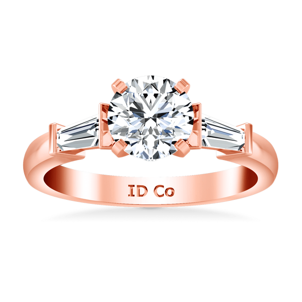 Pave Diamond Engagement Ring Classic Baguette 14K Rose Gold