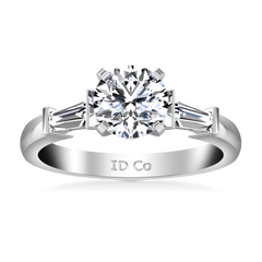 Round Diamond Pave Engagement Ring Classic Baguette 14K White Gold engagement rings imaginediamonds