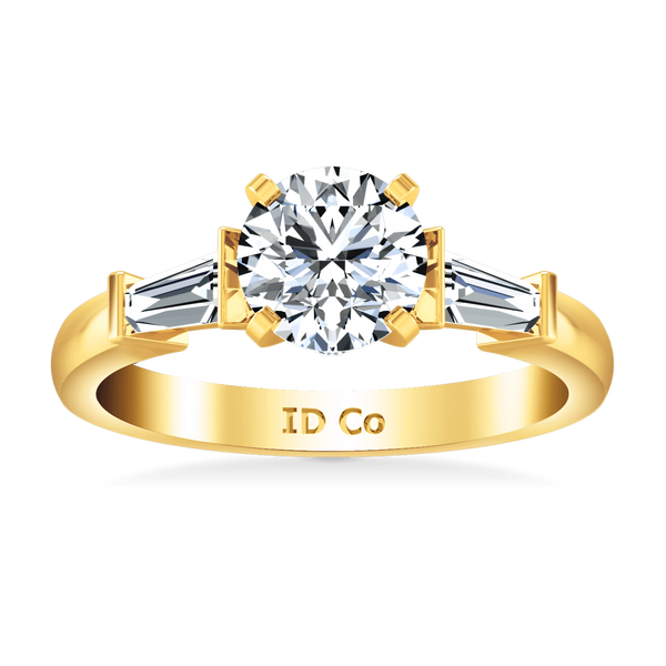 Pave Diamond EngagementRing Classic Baguette 14K Yellow Gold