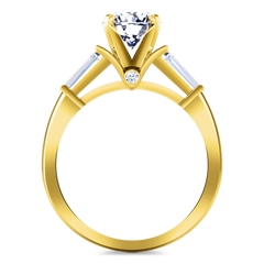 Pave Diamond EngagementRing Classic Baguette 14K Yellow Gold engagement rings imaginediamonds