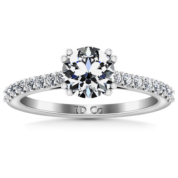 Round Diamond Pave Engagement Ring Legacy 14K White Gold