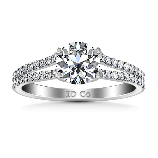 Round Diamond Pave Engagement Ring Dream 14K White Gold