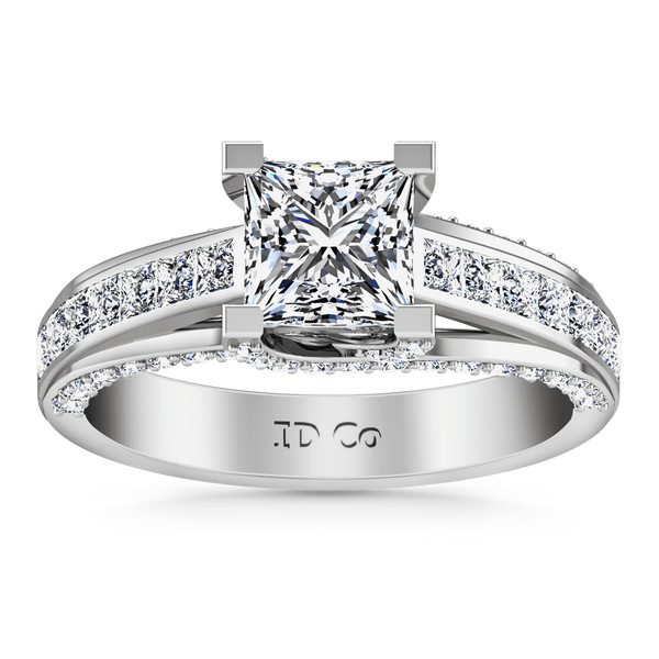 Pave Princess Cut Diamond Engagement Ring Isabella 14K White Gold